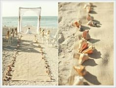 I love the shells. Perhaps the aisle could incorporate/be constructed from driftwood?