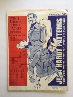 Vintage Jean Hardy Sewing Pattern 660 Men's Shirt & Shore Jacket 1975 Size S-XXL #JeanHardyPatterns #ShirtandShoreJacket