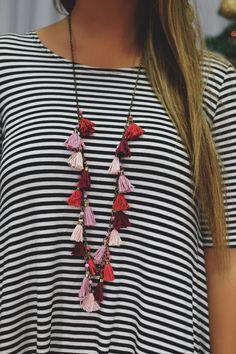Fushia Beaded Fabric Tassel Necklace | UOIonline.com: Women's Clothing Boutique