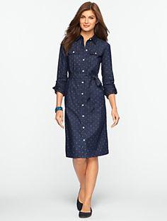 Talbots - Diamond-Print Marine Wash Denim Shirtdress | Misses | Misses