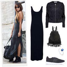 Inspírate en SincerelyJules para llevar un maxi dress con sneakers.