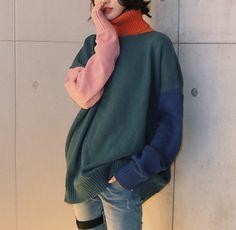vividspark:  turtleneck color block loose sweater