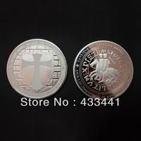 Knight templar white cross silver plated coin , Hot sale