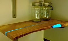 Glowing shelf with his hands to make out of wood