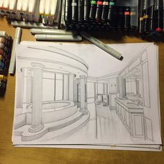 awesome creative and unique design great interior amazing architecture work art sketch 2019 Interior Architecture Drawing, Architecture Drawing Sketchbooks, Architecture Concept Drawings, Drawing Interior, Interior Design Sketches, Architecture Design, Amazing Architecture, Perspective Drawing Lessons, Perspective Sketch