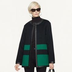Ralph Lauren Leather-Trim Shauna Jacket - Black Label  Outerwear