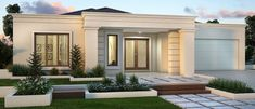 Sienna Homes Lynbrook Modern House Facades, Minimalist House Design, House Entrance, House Front, House Exterior, Modern Bungalow House, House Designs Exterior, Flat Roof House, House Plan Gallery