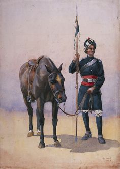 19th Bengal Lancers (Fane's Horse), Punjabi Musalman, c.1909.by Major Alfred Crowdy Lovett.  Fane's Horse was raised at Kanpur (Cawnpore) in 1860 by Lieutenant Walter Fane to serve in the 2nd China War (1857-1860). In 1861, the regiment became the 19th Regiment of Bengal Cavalry, and four years later 'Lancers' was added to its title. In 1874 it became the 19th Regiment of Bengal Lancers, being renamed in 1901 the 19th Bengal Lancers (Fane's Horse).