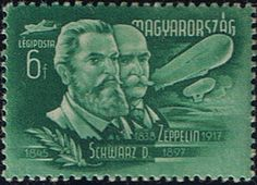 David Schwarz & Count von Zeppelin shown on a Hungarian stamp issued in 1948. Photo by Rudy Pinto at aerophilatelist.blogspot.com