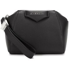 Womens Clutches Givenchy Antigona Black Leather Clutch (2.450 RON) ❤ liked on Polyvore featuring bags, handbags, clutches, black wristlet purse, leather handbags, zip wristlet, black leather clutches and wristlet clutches