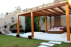 Make your day with these fabulous backyard pergola design. Add pergola in backyard place to escape of city life. If you have some time, see these ideas Patio Bar, Deck Vs Patio, Outdoor Balcony, Deck With Pergola, Pergola Attached To House, Covered Pergola, Backyard Pergola, Porch Plans, Pergola Plans