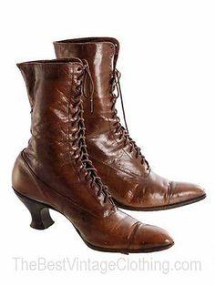 Brown Vintage Victorian Lace Up Civil War Era Period Womans Boots Shoes 7 8 9 10