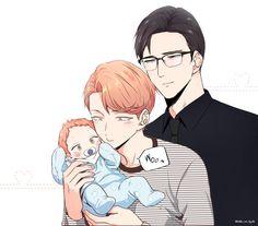 Anime Boys, Manga Anime, Mpreg Anime, Anime Couples Manga, Cute Anime Guys, Cute Anime Couples, Haikyuu Anime, Bebe Anime, Anime Pregnant