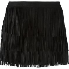 Alice+Olivia Fringed Mini Skirt ($535) ❤ liked on Polyvore featuring skirts, mini skirts, black, black miniskirt, mini skirt, fringe skirt, black fringe mini skirt and short black skirt