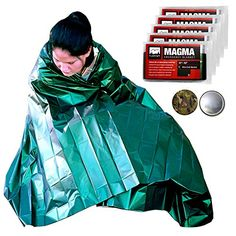 MAGMA Emergency Mylar Survival Blankets 5 Pack  Olive Drab  Reflective Reusable Thermal Blanket to Maximize Body Heat Retention  Military Grade  FREE Camo Signaling Mirror * Check this awesome product by going to the link at the image.
