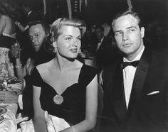 Patricia Blair photographed with Marlon Brando in November 1955 at the Ambassador