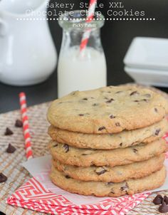 Bakery Style XXL Chocolate Chip Cookies Ingredients 2 sticks (1 cup) softened unsalted butter 1 cup packed light brown sugar 1/2 cup granulated sugar 2 large eggs 1 1/2 teaspoon pure vanilla extract 2 3/4 cup all purpose Gold Medal Flour 1 teaspoon kosher salt 1 teaspoon baking soda 1/2 teaspoon baking powder 2 cups …