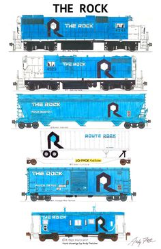 """An 11""""x17"""" poster with some of Andy Fletcher's hand drawings of The Rock locomotives and rolling stock."""
