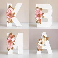 Bridal Shower Decorations - New ideas Flower Letters, Diy Letters, Letter A Crafts, Nursery Letters, Paper Flowers Craft, Felt Flowers, Flower Crafts, Floral Flowers, Large Christmas Baubles