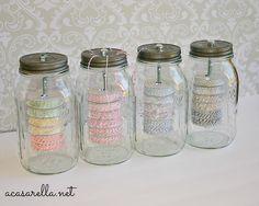 A Casarella: Mason Jar Twine Holders. I love love love this idea!!