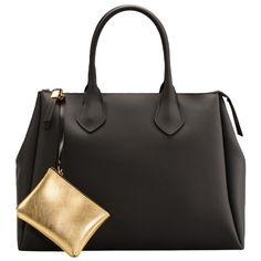 Die edle schwarze Tasche mit Golddetails ist ein super Accessoires für einen modischen Business Look. ♥ ab 129,00€ Gold, Super, Bags, Beauty, Fashion, Accessories, Handbags, Black, Women's