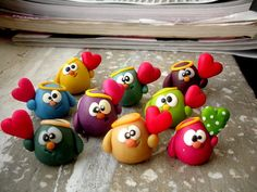 Look at these adorable polymer clay birdies. Or are they chicks? They're Kawaii!!!