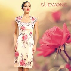 Sue Wong illusion cap sleeve sheath cocktail dress with floral embroidery… #teamsuewong #suewong #fashion #hautecouture #couture #picoftheday #glamorous #colorful