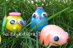 Easter kids craft plastic easter egg craft with foam stickers and googly eyes. Recycle craft making use of those 1000's of plastic eggs left over from the Easter Egg Hunt.