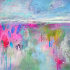 Abstract Landscape Painting Print, Landscape Giclee Print, Pink and Blue Abstract Print, Modern Art Print, Expressive Landscape