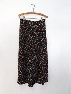 Vintage 1990s Black Red Rosebud Maxi Skirt Summer A-Line Folk Hipster Grunge Country Boho 50's 60s Style Picnic Size Medium Basic Editions