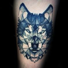 Cool Male Geometric Wolf Arm Tattoo Ideas