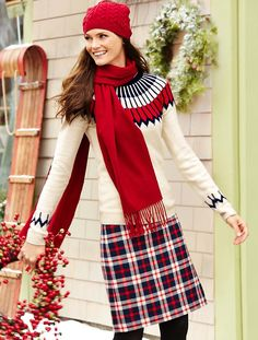 \Nordic Fair Isle Sweater with Cable Hat and Cashmere Scarf! #Talbots