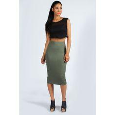Boohoo Alexis Midi Jersey Tube Skirt ($8) ❤ liked on Polyvore featuring skirts, mid calf black skirt, black jersey skirt, black skirt, midi skirt and black midi skirt