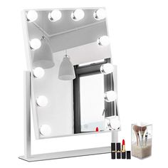 WAYKING Makeup Mirror with Lights, Lighted Vanity Mirror with 12 LED Bulbs and Touch Dimmer, Rotary Tabletop Cosmetic Mirror, 3 Color Modes, White Lighted Vanity Mirror, Makeup Vanity Mirror, Makeup Mirror With Lights, Led Mirror, Makeup Light, Double Sided Mirror, Salon Chairs, Bathroom Renovations, Bathroom Fixtures