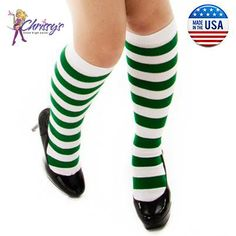 f7db8f29374 White and Kelly Green Striped Knee Socks