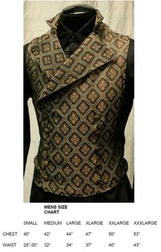 Steampunk or Regency Era Cavalier Vest in Brown and Gold Diamond Tapestry Fabric