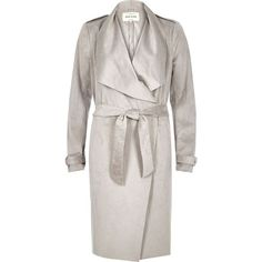 River Island Silver grey lightweight trench coat ($86) ❤ liked on Polyvore featuring outerwear, coats, coats / jackets, silver, women, silver coat, lightweight coat, tall coats, river island and light weight trench coat