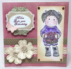 Geburtstagskarte mit Tilda von Magnolia, Flower Shop von Stampin' Up! und Spruchstempel von Whiffofjoy.  Coloriert mit Twinklings.