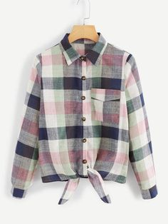 SHEIN offers Knot Hem Plaid Blouse & more to fit your fashionable needs. Fall Shirts, Blouse Online, How To Roll Sleeves, Pop Fashion, Jeans Fashion, Blouse Designs, Shirt Blouses, Types Of Shirts, Plaid