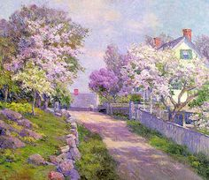 Hardwick, Melbourne (American, 1857-1916) Gloucester Lane, oil on canvas. easy cross stitch