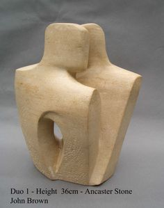 Ancaster stone Figurative Abstract Modern or Contemporary Sculptures Statues statuary statuettes figurines sculpture by artist John Brown titled: 'Duo 1 (stone lovers modern abstract statues)' - Artwork View 2