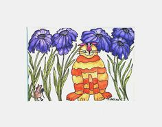 Cats, Daisies and Mouse Original Watercolor, 8x10, Matted, Ready to Frame