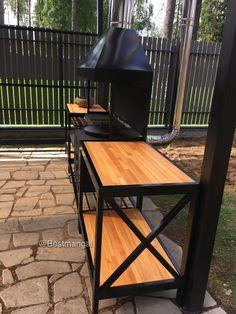 Bbq Pit Smoker, Fire Pit Grill, Bbq Grill, Barbeque Design, Grill Design, Backyard Barbeque, Fire Pit Backyard, Outdoor Wood Burner, Welded Furniture