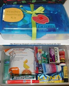 """Teacher Survival Kit by """"Mom"""" Nicholson at Triple Nap ~ Contents: Large Pencil Case (as container); Excedrin Tension Headache; Scott Mini Lint Roller; Purell Hand Sanitizer; BreathSavers; Vitamin C Drops; Luna Lemon Zest Meal Bar; C.O. Bigelow Lemon Lip Balm; Nail File; True Blue Spa Look Ma, New Hands Lotion; Wisp Disposable Toothbrushes; Tide To Go Pen; 2 Lipton Energize To Go Iced Tea Mix packets; 2 Propel Cherry-Lime Vitamin Enhanced Drink Mix packets"""