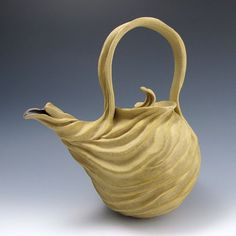 Judi Tavill/jtceramics - Naked Tan Stoneware Carved Organic Teapot
