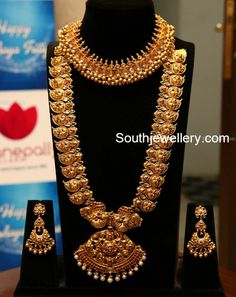 tussi necklace and mango haram Silver Jewellery Indian, Gold Jewellery Design, Gold Jewelry, Handmade Jewellery, Indian Jewelry Sets, India Jewelry, Gold Necklaces, Gold Bangles, Mango Mala Jewellery