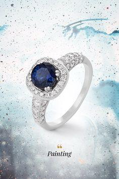 Modrý kolorit zafíru sa pravidelne dostáva na piedestál obľúbenosti farieb prírodných drahých kameňov a nie je sa čomu diviť. Zamilujete sa doňho rovnako, ak sa zahľadíte do očka prsteňa Painting, ktorého zreničku tvorí práve modrý zafír, s karátovou hmotnosťou 1,39ct. Dokonale vytvarované, oko lemujúce riasy z 52 žmurkajúcich diamantov ukončuje perfektne kontúrované biele zlato. Statement Rings, Blue Sapphire, Diamond, Painting, Jewelry, Jewlery, Jewerly, Painting Art, Schmuck