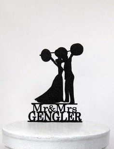 Personalized Wedding Cake Topper  Weight lifting  by Plasticsmith
