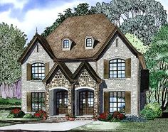 Plan W60621ND: French Country Duplex Elevation  ~ Great pin! For Oahu architectural design visit http://ownerbuiltdesign.com
