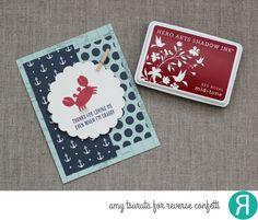 Card by Amy Tsuruta. Reverse Confetti stamp set: Seaside. Confetti Cuts: Circles 'n Scallops. Thank you card. Friendship card.